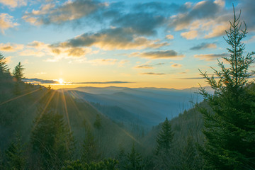Morning sunrise over the Oconaluftee Valley in the Great Smoky Mountains National Park