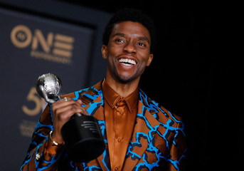 50th NAACP Image Awards – Photo Room– Los Angeles - Chadwick Boseman poses backstage with his Outstanding Actor in a Motion Picture award for Black Panther