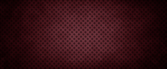 dark red background with black polka dot grid pattern and black grunge border