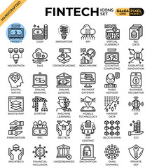 Fintech (Financial Technology) concept icons