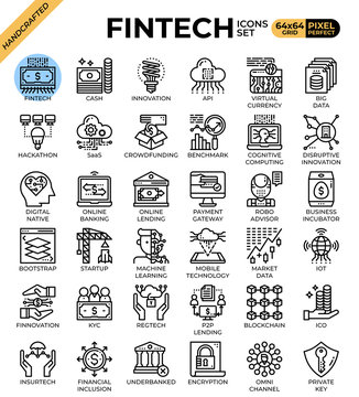 Fintech (Financial Technology) concept icons