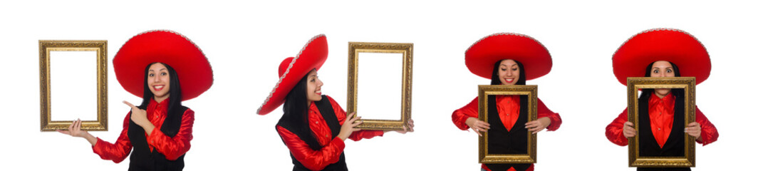 Mexican woman with picture frame on white