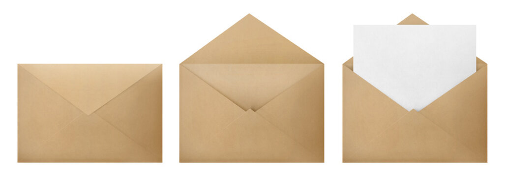 Set of brown envelopes (sealed, empty and with a blank paper inside), isolated on white background