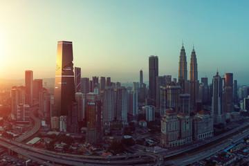 Fotomurales - Future 3d modern jigsaw puzzle design skyscraper mix in sunrise Kuala Lumpur city skyline , future vision of modern city , mixed media .