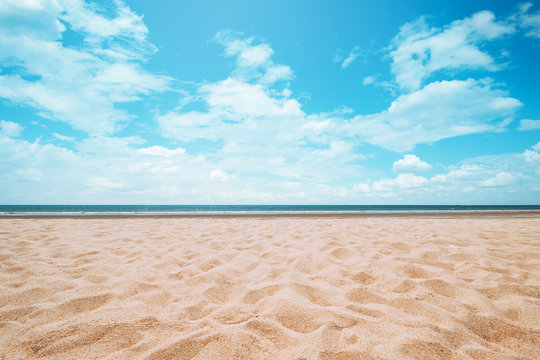 Seascape of beautiful tropical beach with calm sky. sea view and sand beach, summer background.
