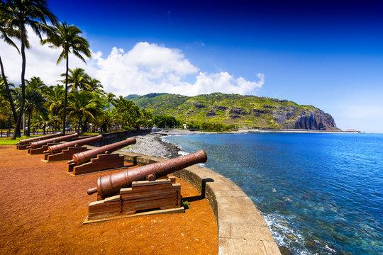 Historic gun at Le Barachois place, Saint Denis, Reunion Island