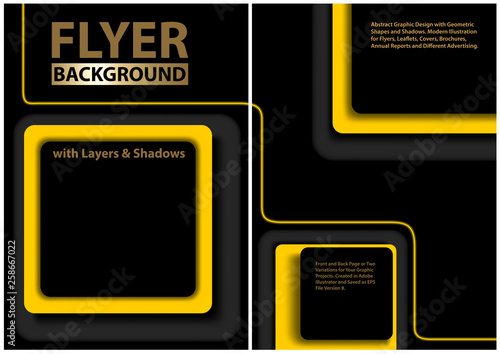 Black Flyer Template with Yellow Geometric Shapes and 3D