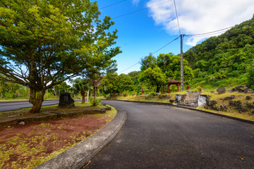 Pinic place during a sunny day at Saint Rose, Reunion Island