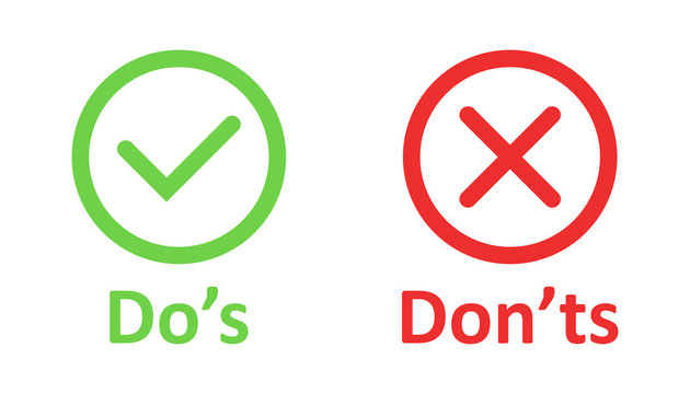 Do's and don'ts sign icon in flat style. Like, unlike vector illustration on white isolated background. Yes, no business concept.