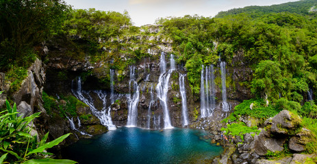 Panoramic view of waterfalls of Grand Galet, Langevin, Reunion Island