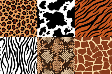 Animal skins pattern. Leopard leather, fabric zebra and tiger skin. Safari giraffe, cow print and snake seamless patterns vector set