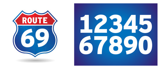 US Route shield with numbers separated Wall mural