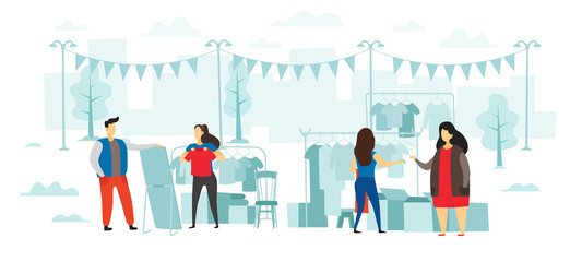 Fashion flea market. People buy and sell clothes, open air street swap-party and fair of clothe flat vector illustration
