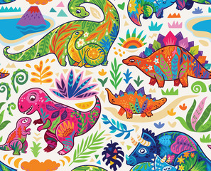 Cute seamless pattern with mom and baby dinosaurs and tropical plants. Vector illustration