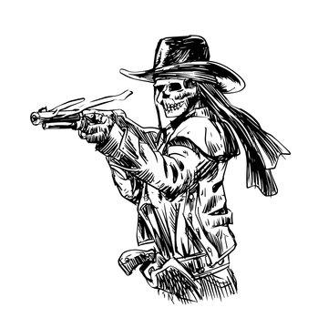 Skeleton cowboy with shotgun from wild west
