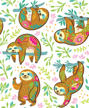 Sloth bear animal characters in floral ornament seamless pattern