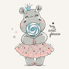 Lamas personalizadas infantiles con tu foto Hand drawn vector illustration of a cute hippo princess in a pink dress and with a big lollipop in her hands.