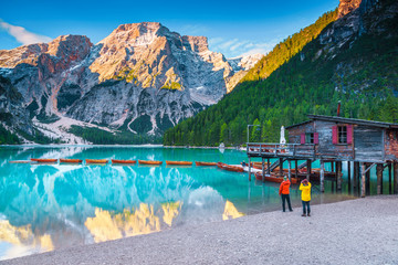 Wall Mural - Summer alpine landscape with turquoise mountain lake, Dolomites, Italy, Europe