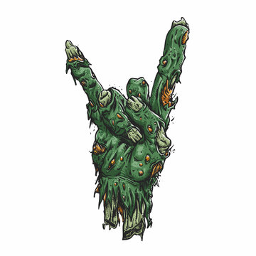 Zombie hand making rock sign