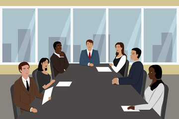 Businessman and his employees seating at meeting table. Vector illustration.