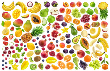 Different fruits and berries isolated on white background with clipping path