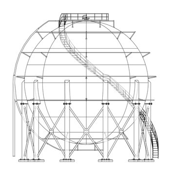 Spherical gas tank outline. Vector