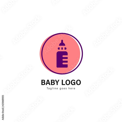 Baby logo template design  baby logo with modern frame