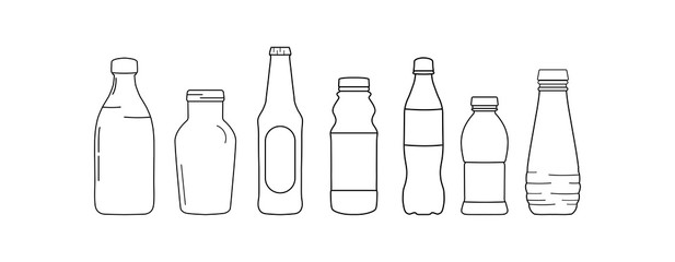 Set of bottle lines icons on white background - vector illustration.