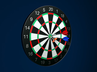 Dartboard with darts. 3d rendering illustration on blue background