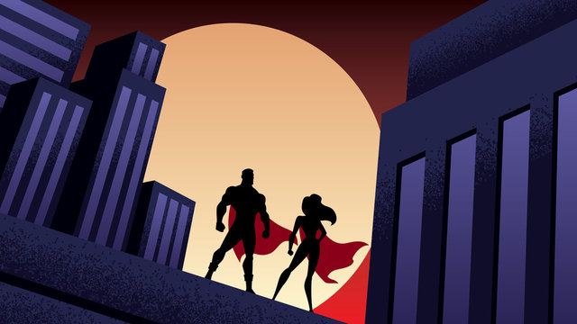 Superhero Couple City Night