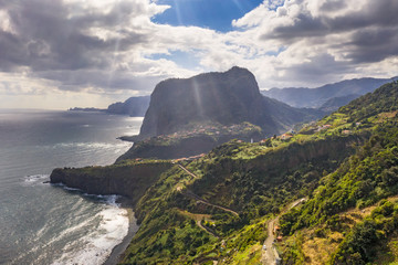 Wall Mural - Beautiful mountain landscape of Madeira island, Portugal. Summer travel background. Aerial view.