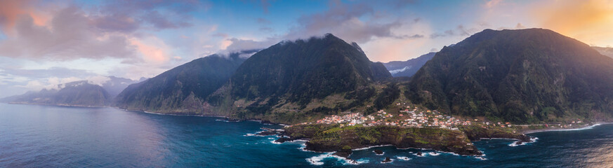 Fototapete - Beautiful mountain landscape of Seixal, Madeira island, Portugal, at sunset. Aerial panorama view.