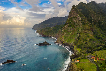 Fototapete - Beautiful mountain landscape of Madeira island, Portugal. Summer travel background. Aerial view.