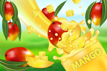Mango juice and splash. Flow of liquid with drops and sweet tropical fruit 3d realistic vector illustration, package design or poster