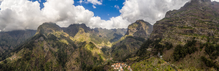 Wall Mural - Scenic mountain landscape of Madeira island, Portugal, in summer. Panorama view.