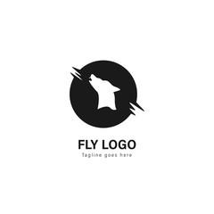 Wolf logo template design. Wolf logo with modern frame vector design