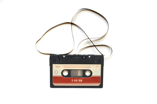 retro or vintage audio cassette tape isolated