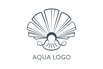 Aqua logo. Shell Logo abstract design vector template. Travel Seafood restaurant Jewelry Luxury Fashion Logotype concept icon.