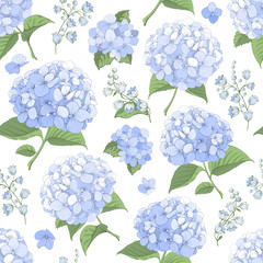 Seamless Background With Hydrangea Flowers