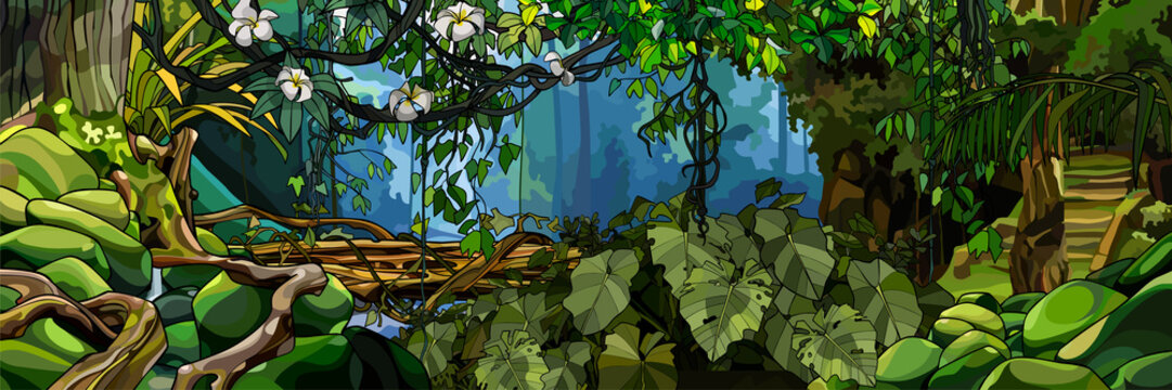 jungle background with lush tropical plants and trees