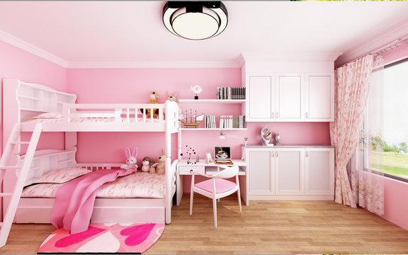 3d render of child room in pink color