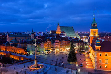 Old Town in City of Warsaw at Night