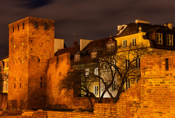 Walled Old Town of Warsaw at Night