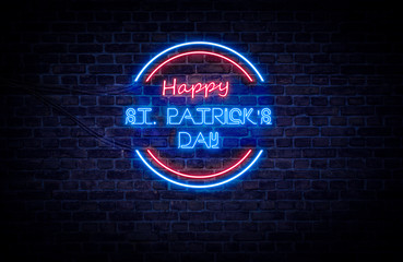 A red and blue neon light sign that reads: Happy St Patrick's Day