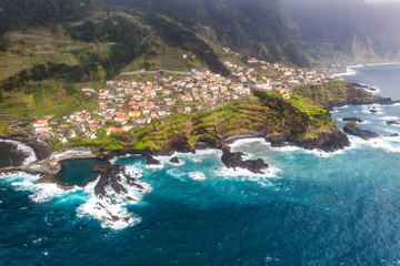 Wall Mural - Beautiful mountain landscape of Seixal, Madeira island, Portugal. Summer travel background. Aerial view.