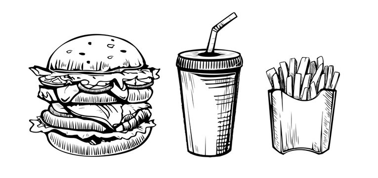 Hamburger, soda drink and french fries hand drawn in sketch style icons. restaurant or cafe vector elements.