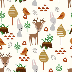 seamless pattern with deer and hare in forest - vector illustration, eps
