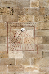 Sundial with gnomon in in Montjuich castle, Barcelona, Spain