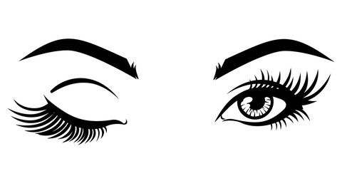 Vector illustration, with closed and open eyes