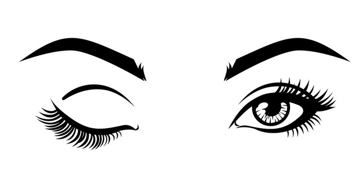 Vector illustration, with closed and open eyes.